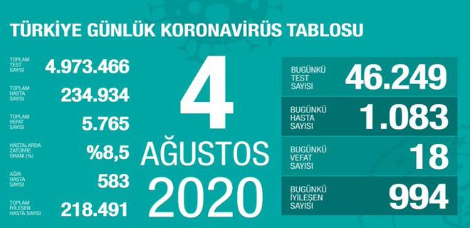 Corona Türkiye Tablosu 4 Ağustos 2020